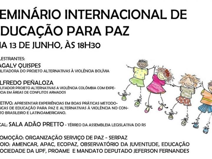 SerPaz divulga Seminário Internacional de Educação para a Paz