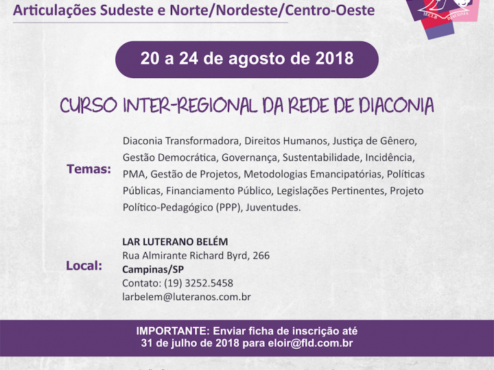 Curso Inter-regional para Articulações Sudeste e Norte/Nordeste/Centro-Oeste