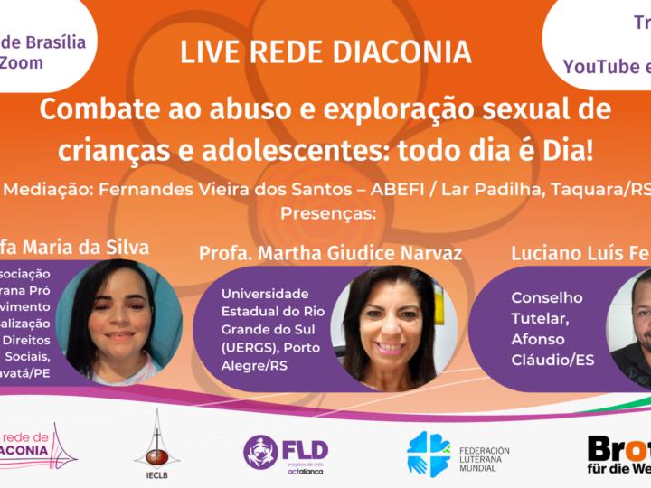 Rede de Diaconia promove live para marcar o combate ao abuso e exploração sexual de crianças e adolescentes